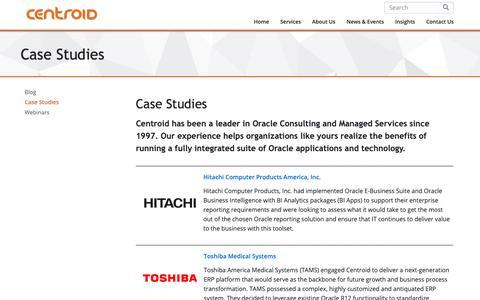 Screenshot of Case Studies Page centroid.com - Successful Oracle Application Case Studies | Centroid - captured Sept. 27, 2018