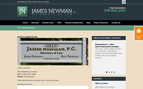 Screenshot of Maps & Directions Page jamesnewmanlaw.com - Directions | James Newman, P.C. | Personal Injury, Medical Malpractice & Construction Accident Law Firm - captured Feb. 11, 2016