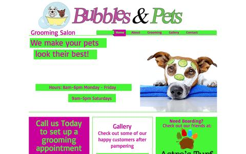 Screenshot of Home Page bubblesandpets.com - Bubbles and Pets Dog Grooming Salon in Edmond Ok - captured Sept. 24, 2016
