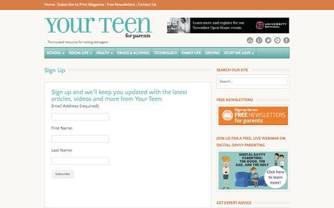 Screenshot of Signup Page yourteenmag.com - Sign Up - Your Teen Magazine - captured Nov. 3, 2014