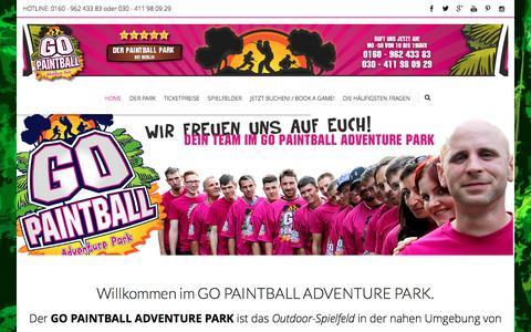 Screenshot of Home Page go-paintball.de - GO PAINTBALL ADVENTURE PARK   Das Paintball Outdoor Spielfeld bei Berlin in Brandenburg. - captured March 27, 2017