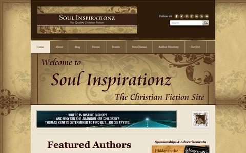 Screenshot of Home Page soulinspirationz.com - Soul Inspirationz // The Christian Fiction Site - captured Oct. 1, 2014