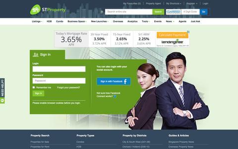 Screenshot of Login Page stproperty.sg - Singapore Property, Property for Rent/Sale, Singapore Property Classifieds - STProperty - captured May 25, 2017