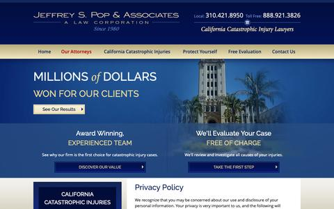 Screenshot of Privacy Page poplawyer.com - Privacy Policy | Jeffrey S. Pop & Associates - captured Oct. 2, 2018
