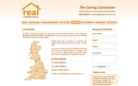 Screenshot of Locations Page realcontractor.co.uk - REAL Contractor Ltd - Trade Solutions Under One Roof - Locations - captured Oct. 26, 2014
