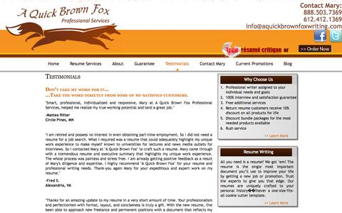 Screenshot of Testimonials Page aquickbrownfoxwriting.com - Resumes and Cover Letters | A Quick Brown Fox Professional Services - testimonials - captured Oct. 2, 2014
