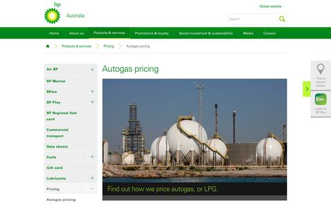 Screenshot of Pricing Page bp.com - Autogas pricing | Pricing | Products & services | BP Australia - captured Dec. 8, 2018