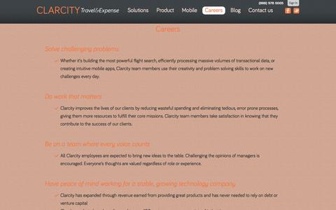 Screenshot of Jobs Page clarcity.com - Clarcity Travel & Expense - captured Jan. 28, 2016