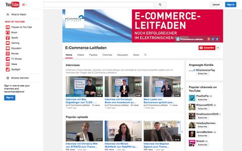 Screenshot of YouTube Page youtube.com - E-Commerce-Leitfaden  - YouTube - captured Oct. 30, 2014