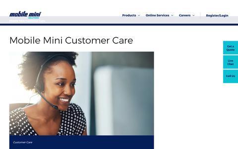 Screenshot of Support Page mobilemini.com - Mobile Mini's 24/7 Customer Care - captured Sept. 29, 2017