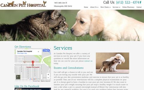 Screenshot of Services Page camdenpet.com - Veterinarian Services Near Me in Minneapolis, MN | Camden Pet Hospital - captured July 13, 2017
