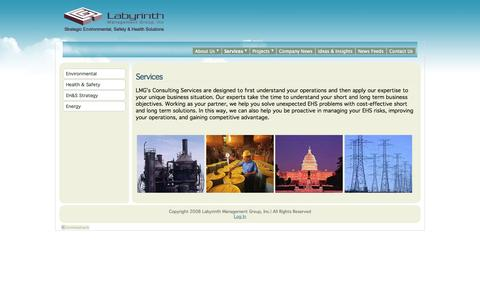 Screenshot of Services Page lmgweb.com - Labyrinth Management Group, Inc - Services - captured Oct. 1, 2014