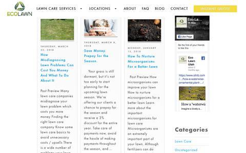 Screenshot of Blog ecolawnutah.com - Lawn Care Blog - Eco Lawn Of Utah - captured July 16, 2018