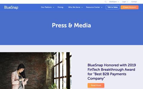 Screenshot of Press Page bluesnap.com - Press & Media | BlueSnap - captured April 28, 2019