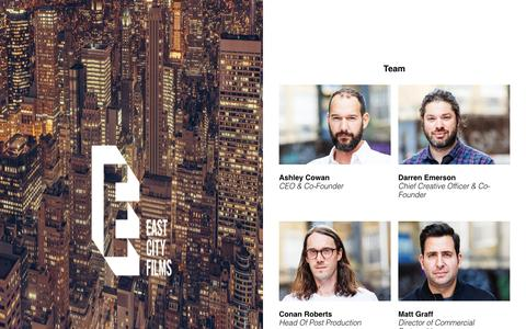 Screenshot of Team Page eastcityfilms.com - VR City Team - captured May 14, 2017