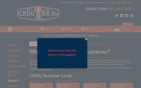 Screenshot of Support Page ckdu.ca - CKDU - captured July 8, 2017
