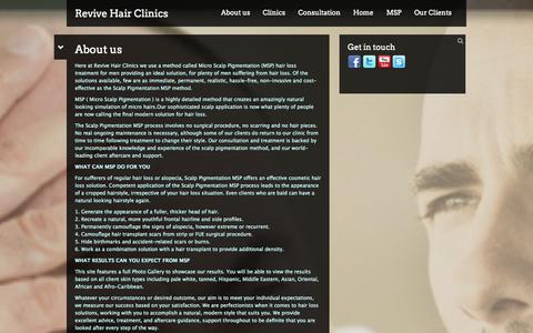 Screenshot of About Page revivehairclinics.com - About us  | Revive Hair Clinics - captured Oct. 26, 2014
