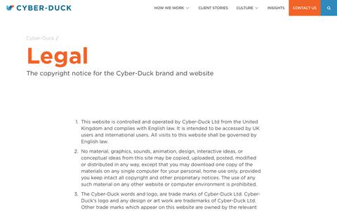 Screenshot of Terms Page cyber-duck.co.uk - Legal | Cyber-Duck - captured July 24, 2018