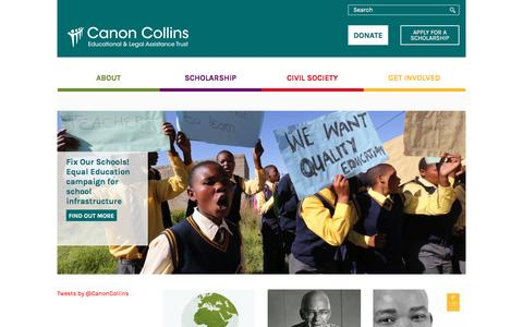 Screenshot of Home Page canoncollins.org.uk - Canon Collins Educational and Legal Assistance Trust - captured Jan. 25, 2016