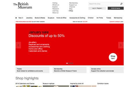 Screenshot of Home Page britishmuseumshoponline.org - Home at British Museum shop online - captured Jan. 24, 2016