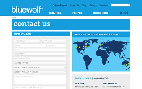 Screenshot of Contact Page bluewolf.com - Bluewolf | Bluewolf Contact Form. Contact us! - captured Sept. 17, 2014