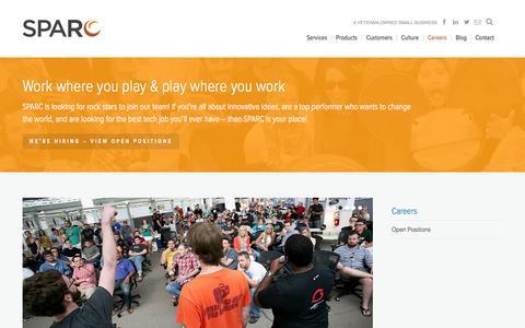 Screenshot of Jobs Page sparcedge.com - Careers | SPARC - captured Sept. 22, 2014