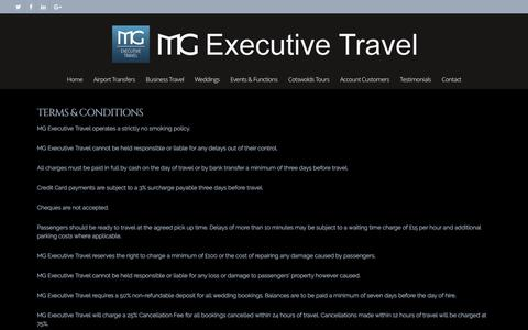 Screenshot of Terms Page mgexecutivetravel.co.uk - Terms & Conditions - MG Executive Travel - captured July 20, 2016
