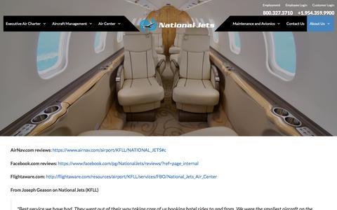 Screenshot of Testimonials Page nationaljets.com - Testimonials - National Jets - captured Oct. 19, 2017