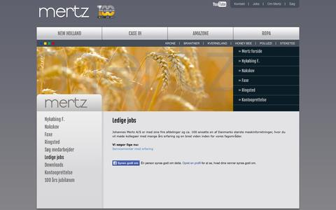 Screenshot of Jobs Page mertz.dk - Ledige jobs | Mertz - captured Oct. 6, 2014