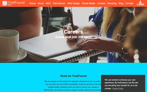 Screenshot of Jobs Page firstfound.co.uk - Sales, SEO, PPC & Digital Marketing Careers - FirstFound, Manchester, UK - captured Sept. 24, 2018