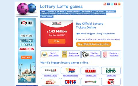 Screenshot of Home Page lotto-game.com - Lottery Lotto games  - Lottery Games Online - captured Oct. 13, 2017