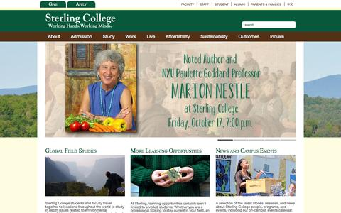 Screenshot of Home Page sterlingcollege.edu - Sterling College  Home » Sterling College - captured Oct. 7, 2014
