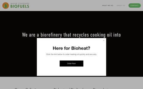 Screenshot of Home Page mainestandardbiofuels.com - Maine Standard Biofuels - captured Nov. 4, 2018