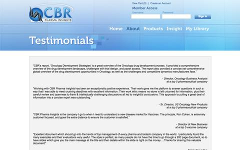 Screenshot of Testimonials Page cbrpharmainsights.com - Testimonials | CBR Pharma Insights - captured Sept. 26, 2014