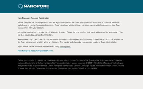 New Nanopore Account Registration
