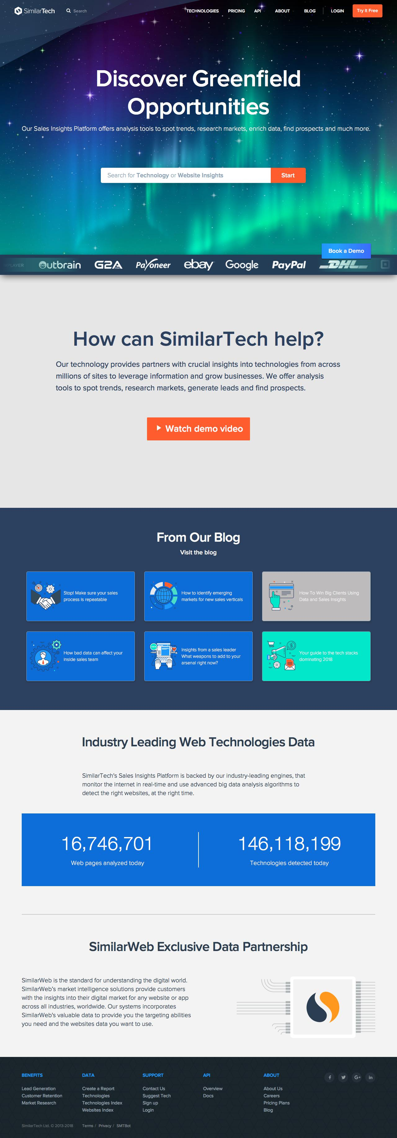 Screenshot of similartech.com - Generate Sales Leads with Web Technology Stack Lookup | SimilarTech - captured March 25, 2018