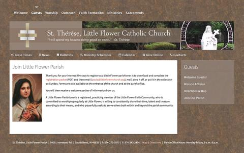Screenshot of Signup Page littleflowerchurch.org - Join Our Parish - St. Therese, Little Flower Catholic Church - captured April 27, 2017