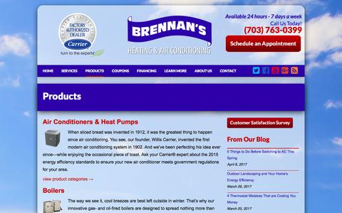 Screenshot of Products Page brennanshvac.com - Carrier Products - captured April 13, 2017