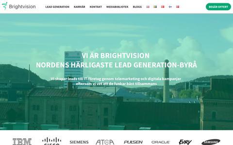 Screenshot of Home Page brightvision.se - Lead Generation för IT-bolag i hela Norden - telemarketing och digitalt - captured Oct. 4, 2018
