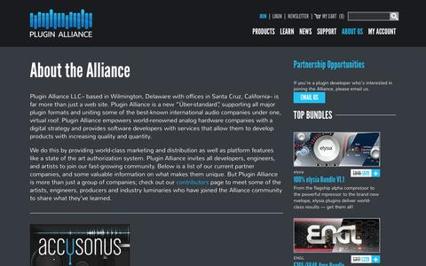 Screenshot of About Page plugin-alliance.com - About the Alliance - Plugin Alliance - captured Feb. 11, 2016