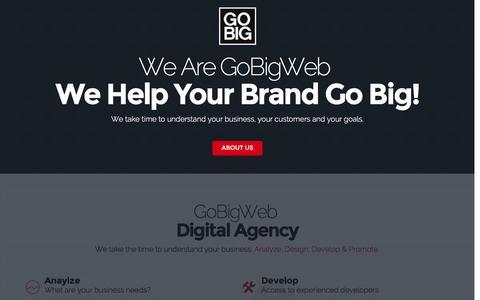 Screenshot of Home Page gobigweb.com - GoBigWeb - Digital Agency - captured May 10, 2017