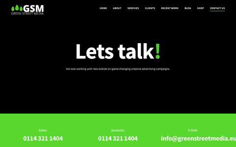 Screenshot of Contact Page greenstreetmedia.eu - Contact Us - Green Street Media - captured July 24, 2018
