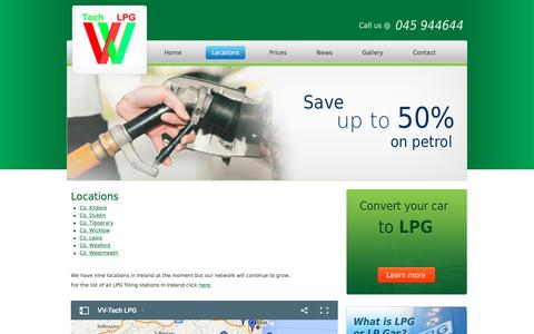 Screenshot of Locations Page lpg.ie - Locations | VV-Tech LPG Limited - captured Feb. 15, 2016