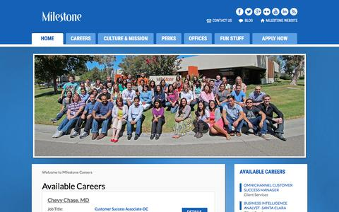 Screenshot of Jobs Page milestoneinternet.com - Openings - Milestone Inc. - captured April 22, 2018