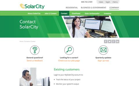 Screenshot of Contact Page solarcity.com - Solar Power Company - Best Solar Power Companies | SolarCity - captured Oct. 10, 2014