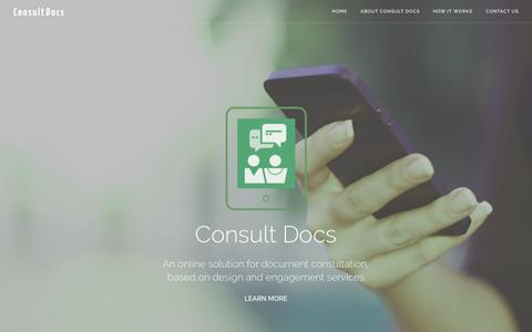 Screenshot of Home Page consult-docs.com - Home - Consult Docs - captured July 15, 2016