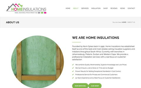 Screenshot of About Page homeinsulations.co.za - About Us | Home Insulations - captured July 21, 2018