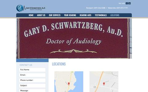 Screenshot of Contact Page Locations Page schwartzberghearing.com - Hearing Aids in Rockport, ME - Gary D. Schwartzberg Au.D. - captured April 25, 2017