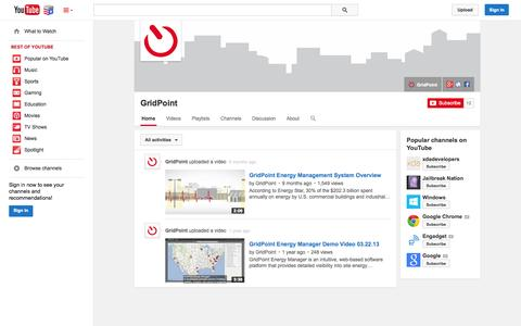 Screenshot of YouTube Page youtube.com - GridPoint  - YouTube - captured Nov. 5, 2014