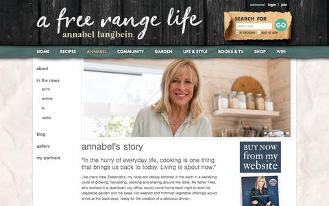 Screenshot of About Page annabel-langbein.com - Annabel Langbein – The Free Range Cook - captured Sept. 23, 2018